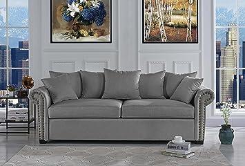 Classic Scroll Arm Linen Living Room Sofa With Nailhead Trim (Light Grey)