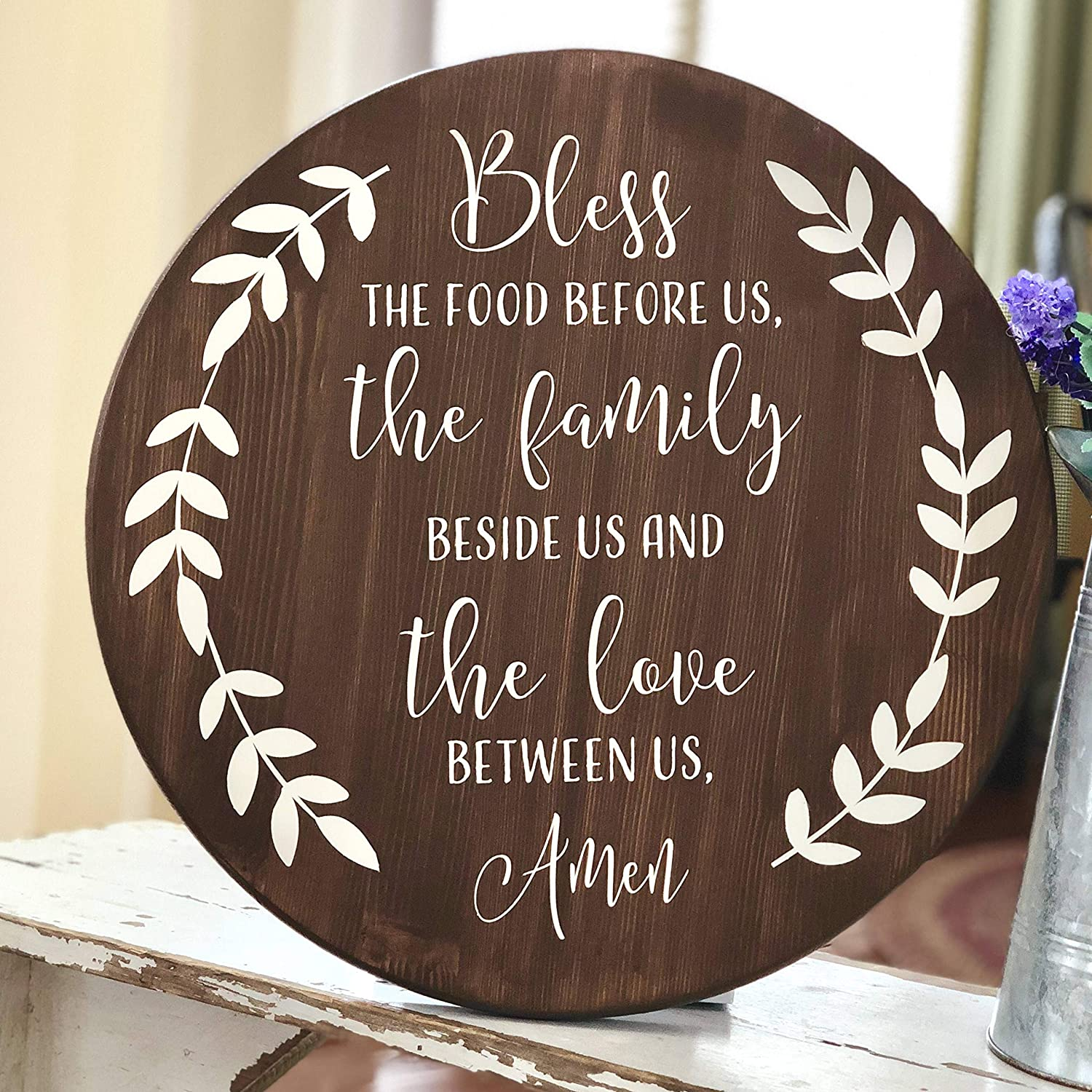 Bless The Food Round Wood Sign Meal Prayer Sign Dinner Prayer Sign Farmhouse Prayer Rustic Round Sign Bless The Food Before Us