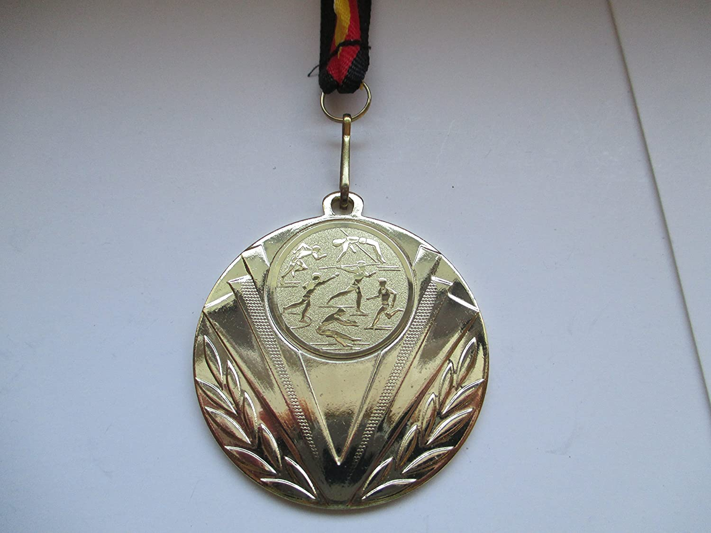 mit Einem Emblem Schwimmensport Farbe: Gold Emblem 25mm 10 x Medaillen aus Metall 50mm inkl Medaillen-Band Schwimmen