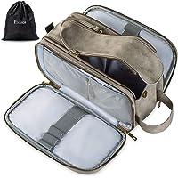 Elviros Toiletry Bag for Men, Large Travel Shaving Dopp Kit Water-resistant Bathroom Toiletries Organizer PU Leather…