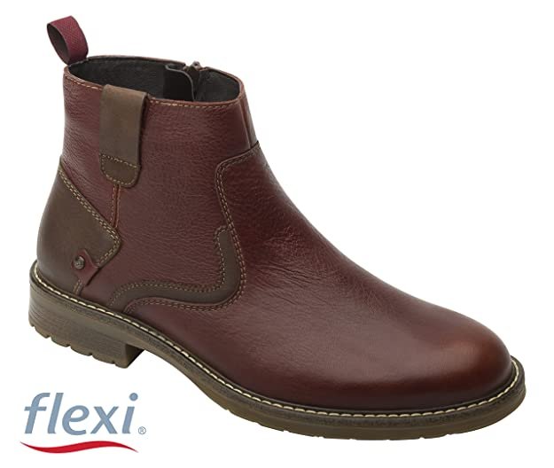 Flexi Shoes - Botas de Piel para Hombre Marrón Marroon, Color Marrón, Talla 45 EU: Amazon.es: Zapatos y complementos