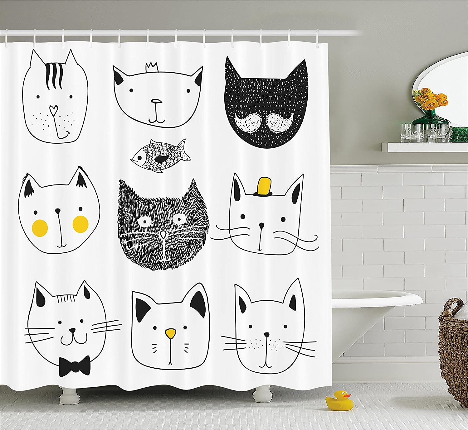 Ambesonne Cat Shower Curtain Stylish Cats With Moustache Bow Tie Hat Crown Fluffy And Fish Humor Faces Graphic Fabric Bathroom Decor Set Hooks