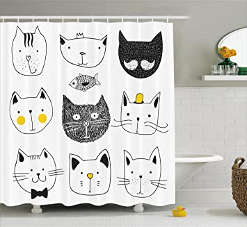 Ambesonne Cat Shower Curtain Stylish Cats With Moustache Bow Tie Hat Crown Fluffy And Fish