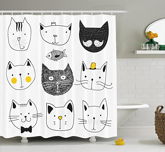 Ambesonne Cat Shower Curtain, Stylish Cats with Moustache Bow Tie Hat Crown Fluffy and Fish Humor Faces Graphic, Fabric Bathroom Decor Set with Hooks, 70 Inches, Yellow Grey