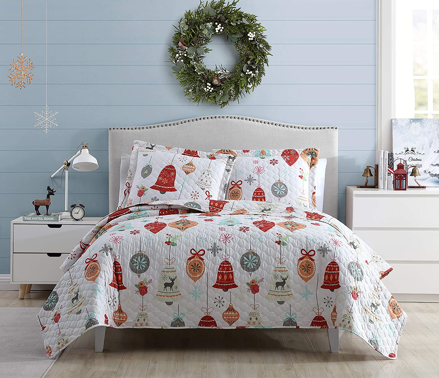 SL Spirit Linen Home EST. 1988 Holiday Collection Quilt Set - Ultra-Soft, Reversible Coverlet Bedding - Oversized Quilt with Matching Pillow Shams, King, Bells