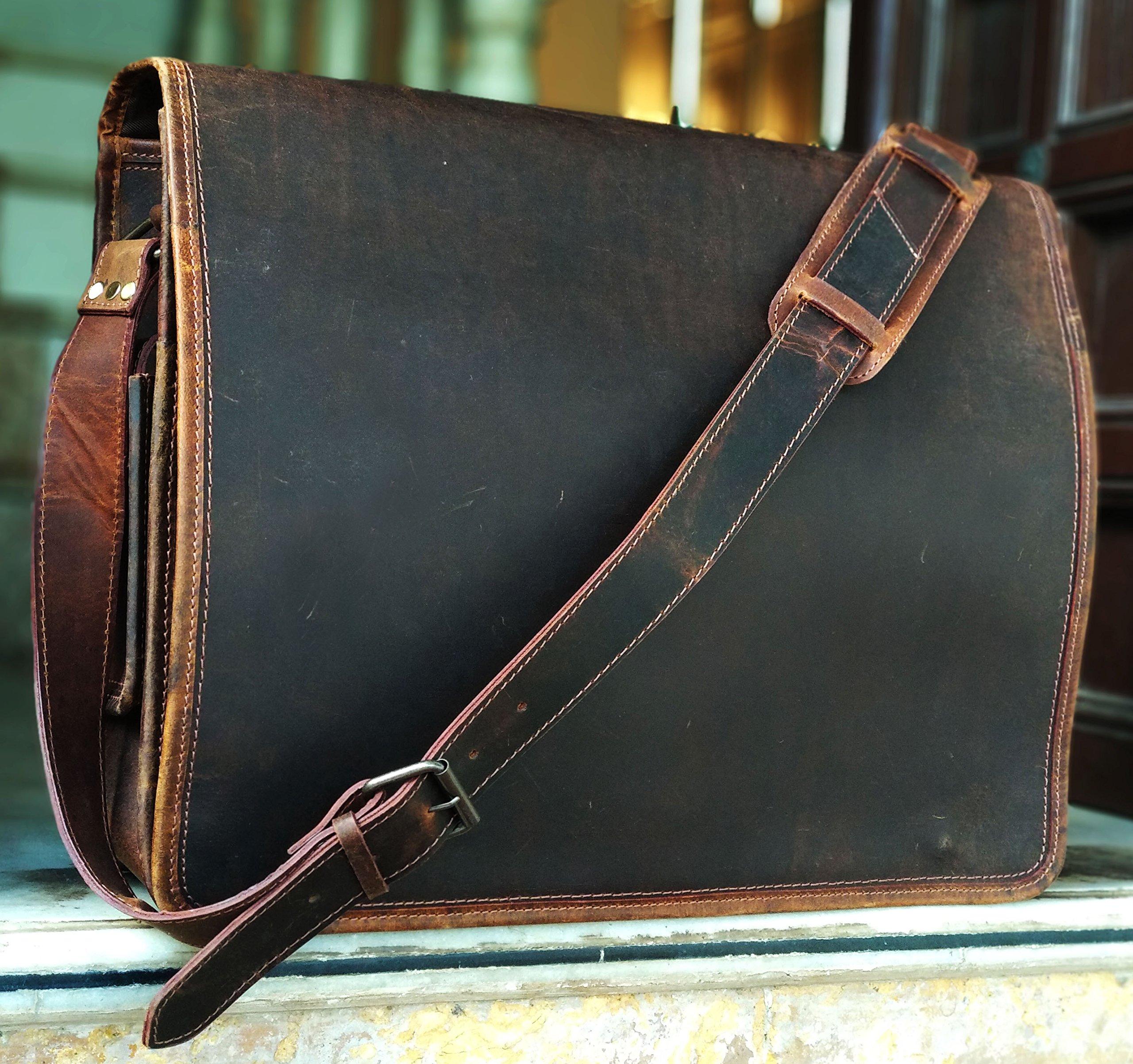 16 Inch Leather Vintage Rustic Crossbody Messenger Courier Satchel Bag Gift Men Women ~ Business Work Briefcase Carry Laptop Computer Book Handmade Rugged & Distressed By KK's Leather by kk's leather (Image #2)