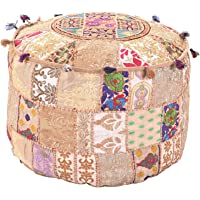 Indian Vintage Ottoman Golden Color Pouf Cover, Patchwork Ottoman, Indian Pouf Stool Vintage Patchwork Living Room Patchwork Foot Stool Cover,Decorative Handmade Home Chair Cover 14x22x22 Inch.