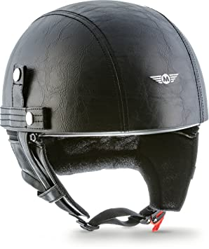 MOTO HELMETS D22-LEATHER - BRAINCAP - Casco de acero, medio casco, casco