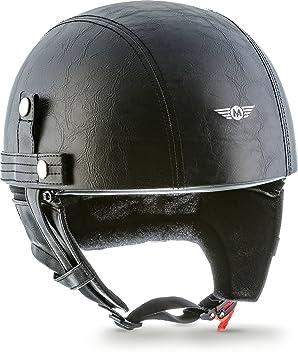 MOTO HELMETS D22-LEATHER - BRAINCAP - Casco de acero, medio casco, casco