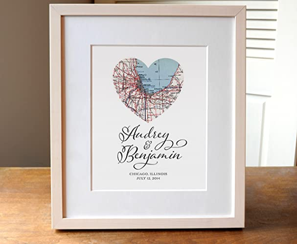 heart map wedding art personalized wedding gift personalized anniversary gift personalized map