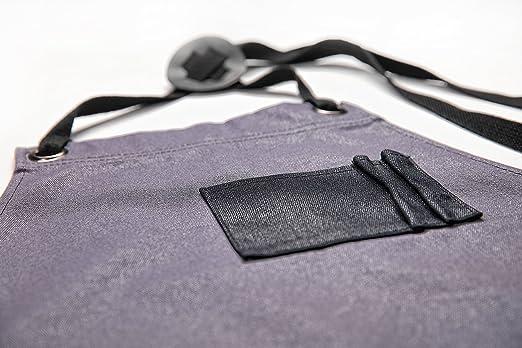 Delantal de trabajo de lona encerada Gray Bear | Delantal de herramientas para uso general con bolsillos | Correas ajustables y reforzadas | Versátil, ...