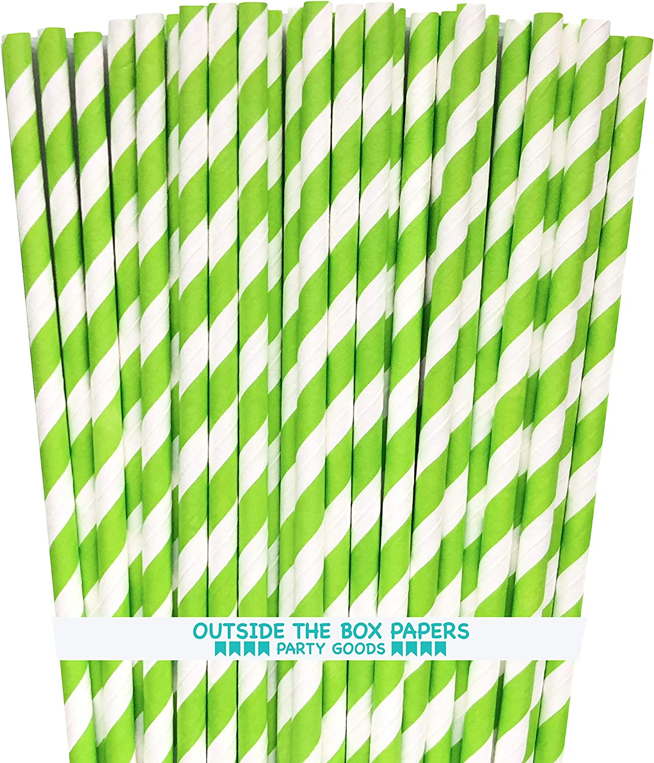 White Yellow Stripes Paper Drinking Straws for Confetti Happiness 100 Pack