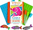 Premium 3 Pack of 60 Pieces Gummy Fish Candy Molds, 3 Droppers, Easy Recipe Great for chocolate molds, BPA Free, Perfect For Ice tray