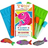 Premium 3 Pack of 60 Pieces Gummy Fish Candy Molds, 3 Droppers, + Easy Recipe Great for chocolate molds, BPA Free, Perfect For Ice tray