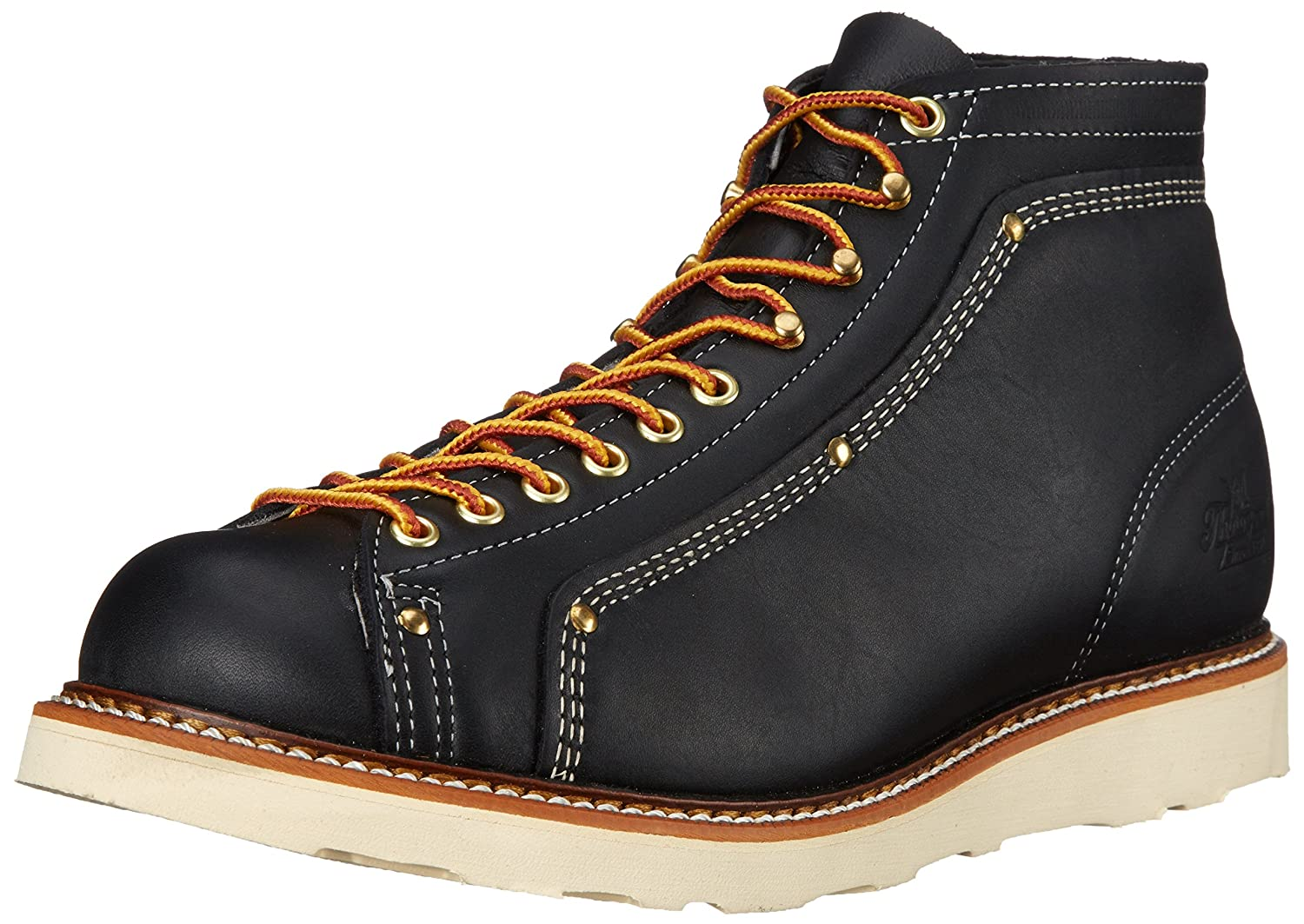 50dabb9b764 Thorogood Mens 814-6233 Lace-To-Toe Roofer Black Leather Boots 8 UK ...