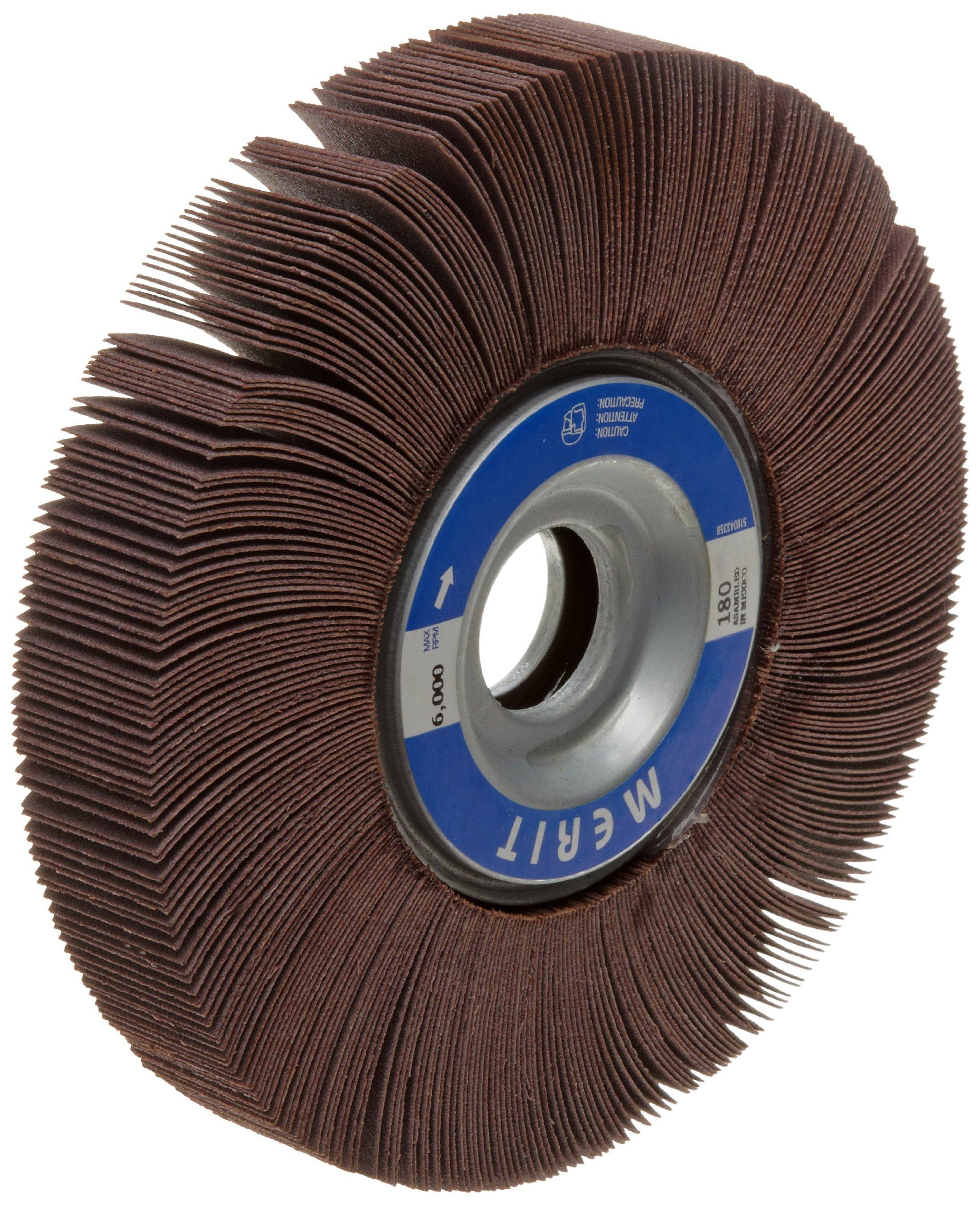 Merit Grind-O-Flex Abrasive Flap Wheel, 1'' Arbor, Round Hole, Ceramic Aluminum Oxide, 8'' Dia., 1'' Face Width, Grit 180, 4500 Max RPM (Pack of 1)
