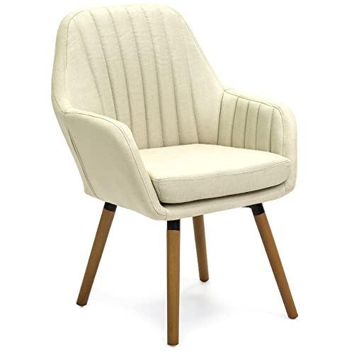 Best Choice Products Mid-Century Modern Line Tufted Accent Chair Beige