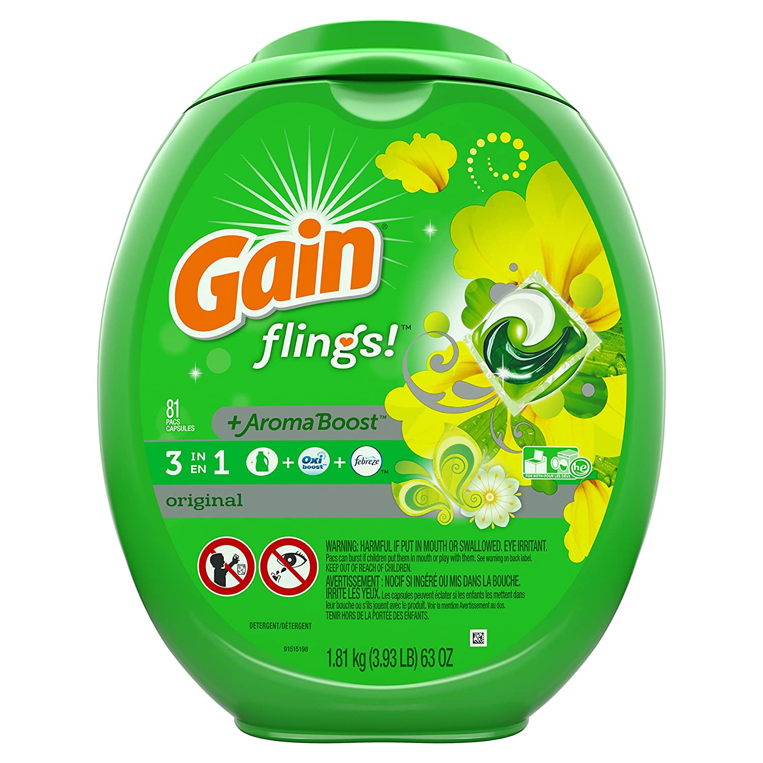 Gain Flings Laundry Detergent.