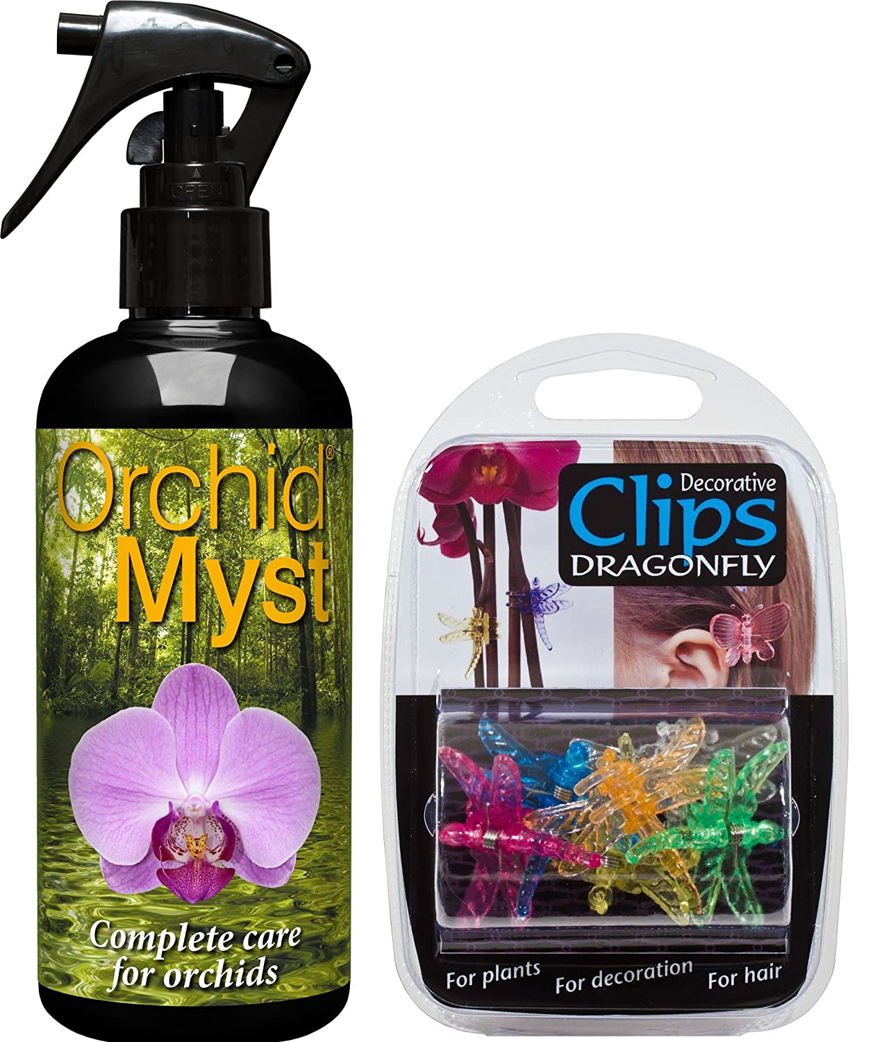 Orchid Myst - Complete Care for Orchids - 300ml and x6 Plastic Dragonfly Clips for Decorating Orchid Plant by Growth Technology …