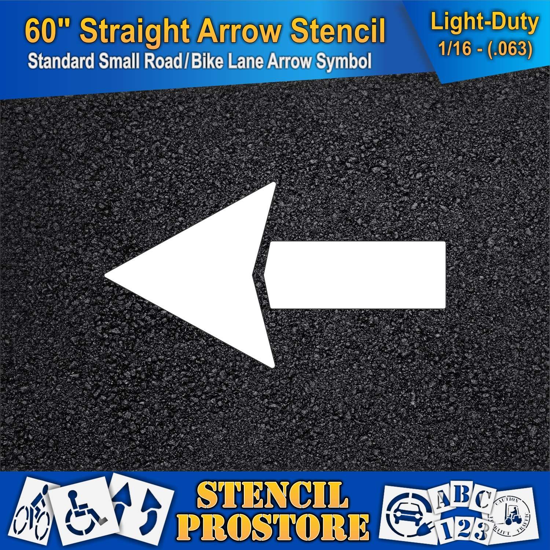 Parking Lot Stencils - 60 inch - Straight Arrow Stencil - 60'' x 33'' with 12'' Wide Tail Stroke - 1/16'' (63 mil) - Light-Duty