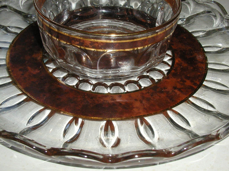 ARCOROC FRANCE BROWN AGATE & GOLD TRIM CHIP & DIP SET