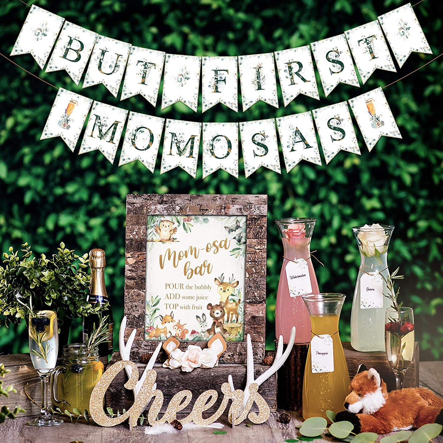 Mimosa Bar Kit | Drinks Table Decor! Woodland Baby Shower Decorations Boy Girl or Gender Neutral Greenery with Forest Theme Animals & Creatures: Fox Owl Doe Buck Oh Deer Party Sign Banner (Woodlands)