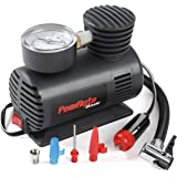 PowRyte Basic Mini Tire Inflator - 12-Volt Portable Auto Air Compressor with Dial Gauge