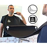 KING POSEIDON Beard Shaving Bib Apron Beard Catcher With Beard Shaping Tool Comb, Hair Clippings Cape For Shaving, Premium Grooming Kit For Men, Black