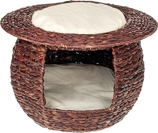 Jacinto de agua trenzado Luxus gato Cesta, 100% hecho a mano, Diseñador cama cama gato,