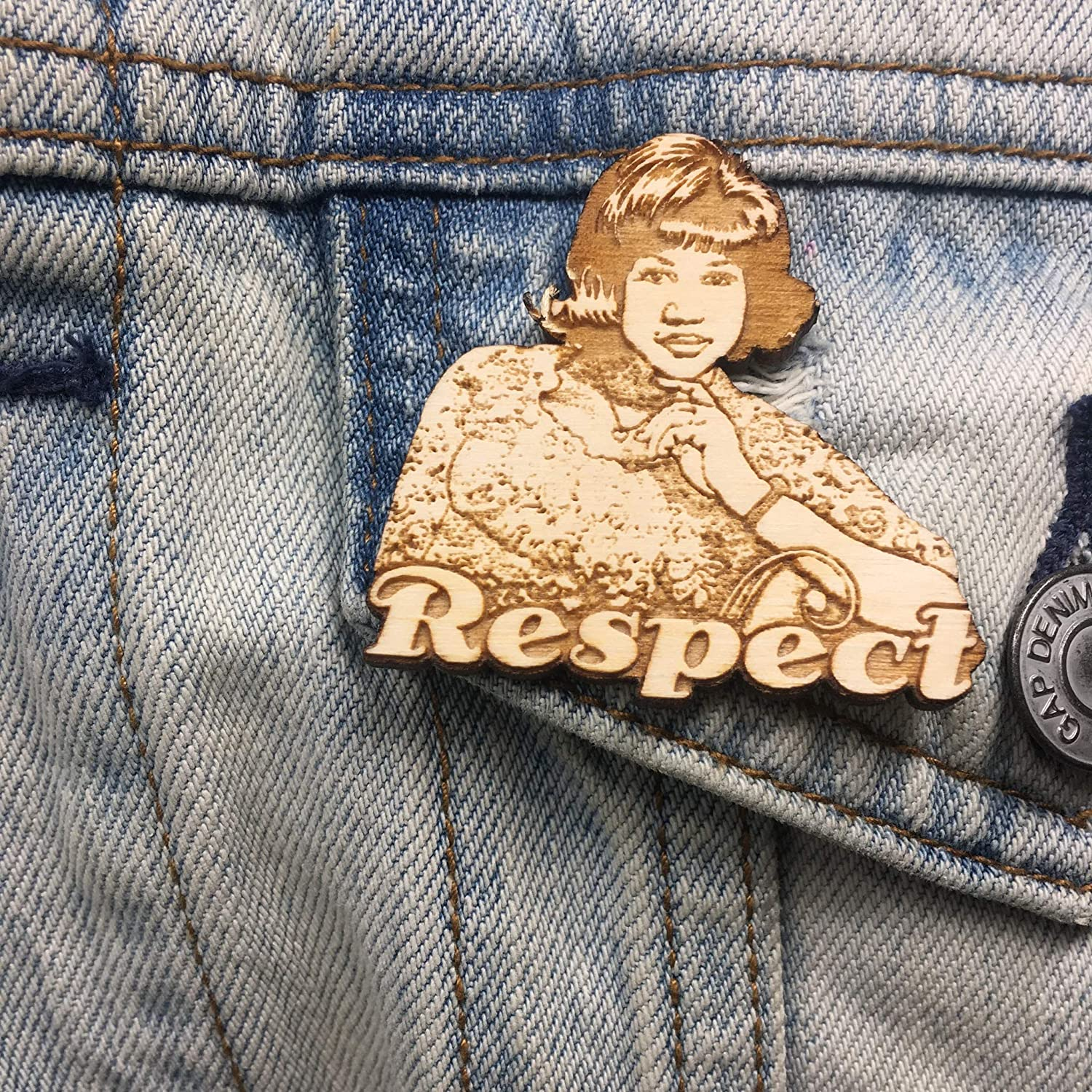 Aretha Franklin Lapel Pin | Queen of Soul RESPECT Wood Brooch