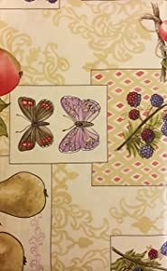Butterflies Among Fruit Flannel Backed Vinyl Tablecloth (60 Inch Round)