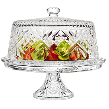 Godinger 4 in 1 Cake Stand and Serving Plate Platter with Dome Cover, Multi-Purpose Use - Dublin Crystal Collection