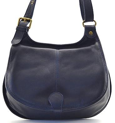OH MY BAG Sac à main besace cuir lisse style cartouchière bleu fonce SOLDES 0110609629b9