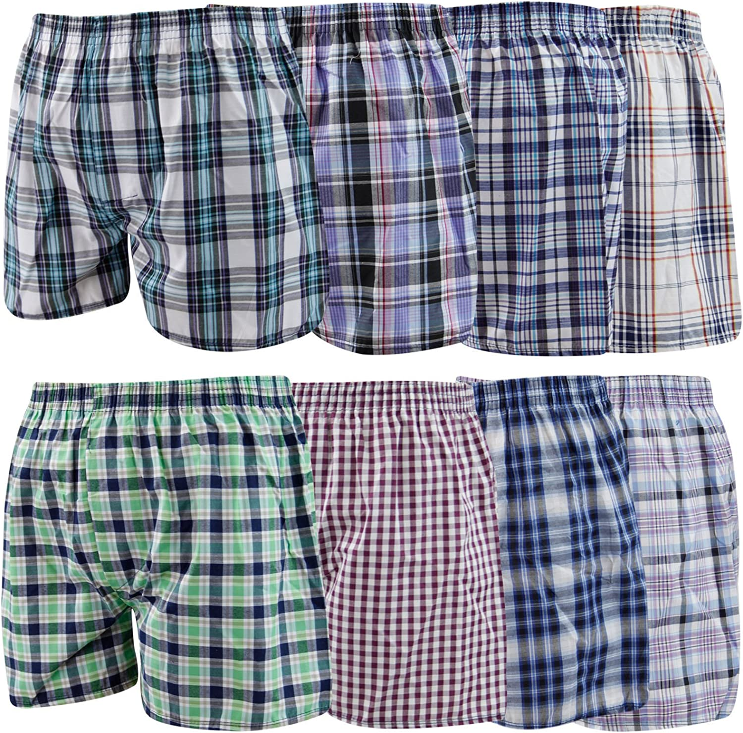 12 Mens Woven Boxer Shorts Loose Fit Poly Cotton Blend BoxersUnderwear 6 Pairs Medium 33-35 Waist Loose Boxers Fly