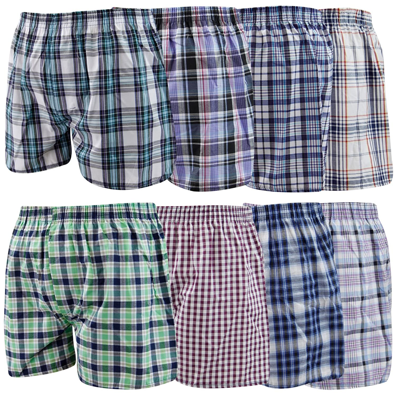 Fly 12 Mens Woven Boxer Shorts Loose Fit Poly Cotton Blend BoxersUnderwear 12 Pairs X Large 40-42 Waist Loose Boxers