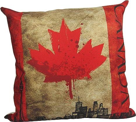Uniikstuff Canada Flag Pillow Cover Canadian Pillow Toronto Throw Pillow Home Decor Pillow Rustic Home Decor Patriotic Pillow Gift Home Kitchen