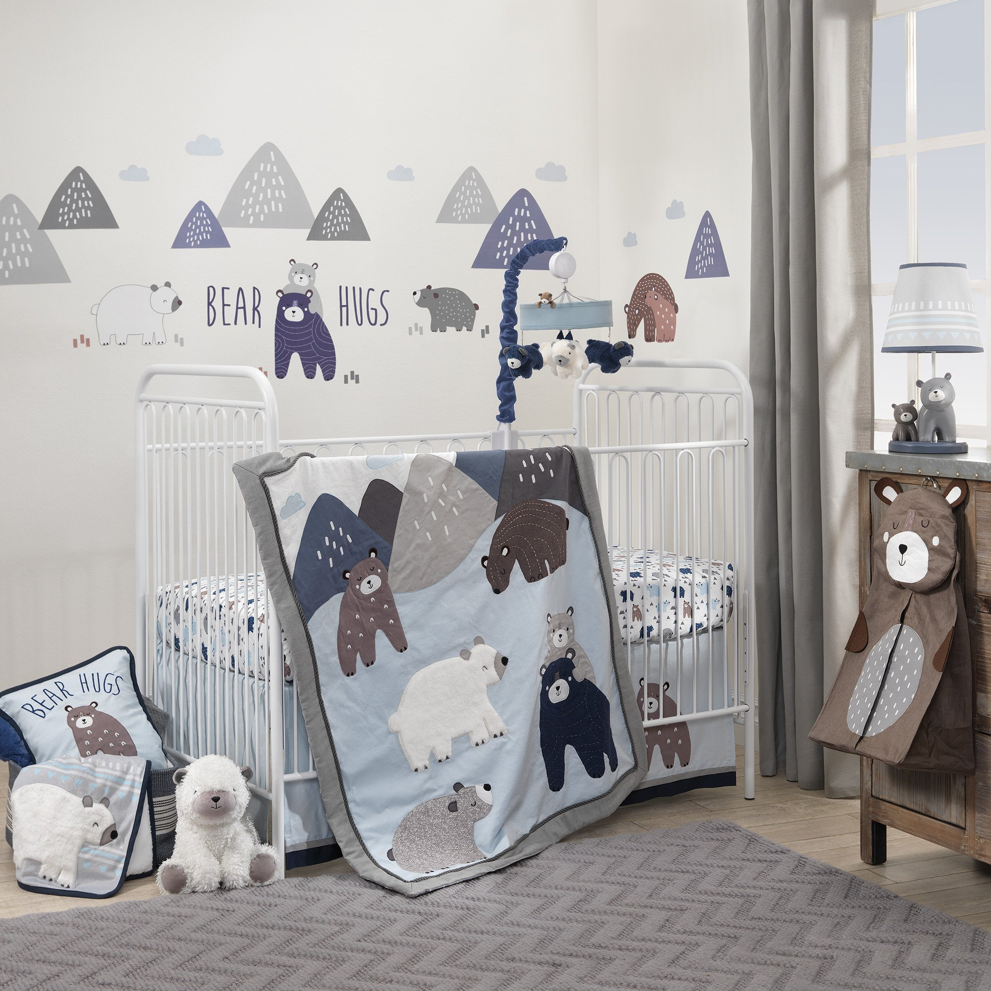 Lambs & Ivy Signature Montana 6-Piece Baby Crib Bedding Set - Blue,Grey,Brown Bears and Mountains by Lambs & Ivy