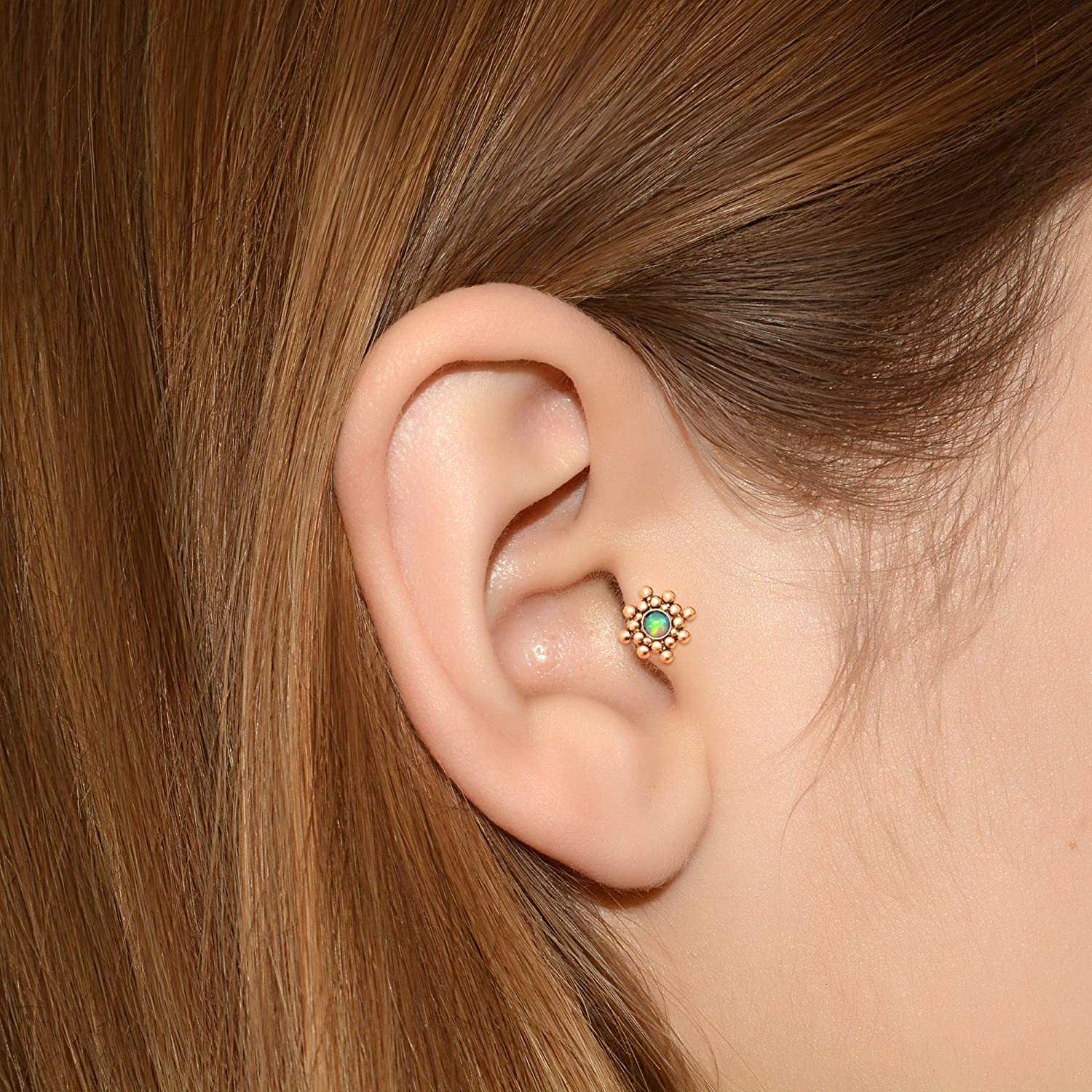 Labret Jewelry Forward Helix Jewelry Tragus Piercing Stud Opal Conch Stud 316L Surgical Steel Cartilage Barbell