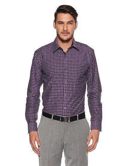 5a7b8674 Park Avenue Men's Solid Slim Fit Formal Shirt(PMSY10082-V8_39_Dark Violet)
