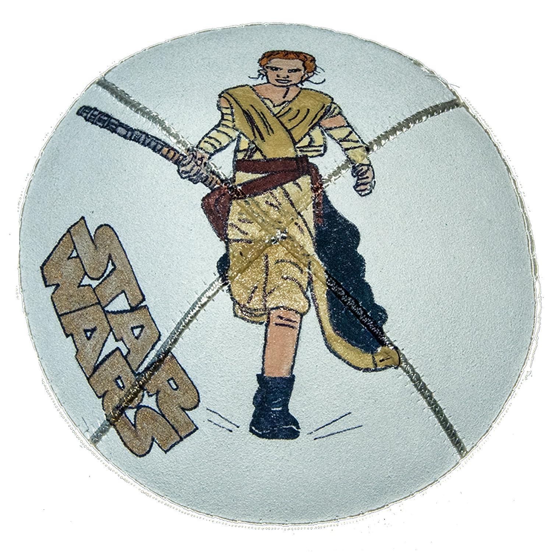 Hand-painted Kippah (Yarmulke) with Star Wars Rey