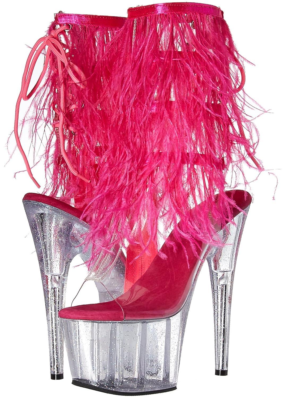 Pleaser Women's Adore-1017MFF Ankle Boot B01N1JLMTM 11 B(M) US|Clr-h. Pink Marabou/Clr-gltr