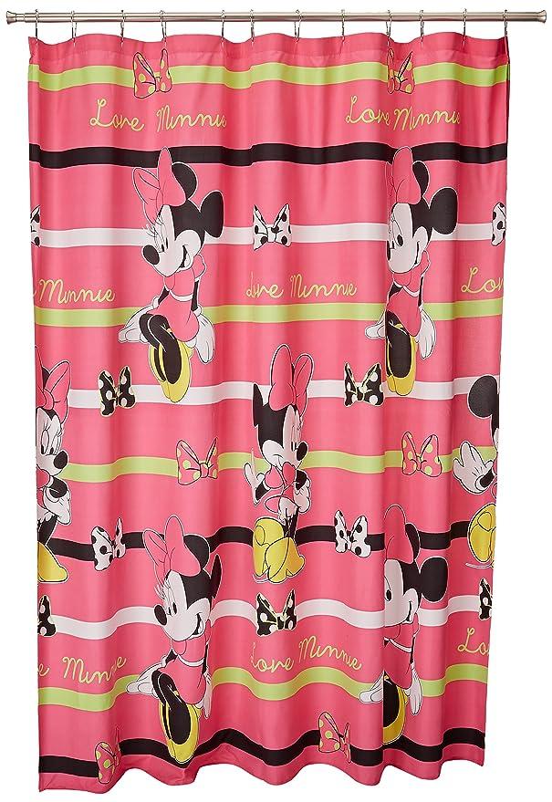 Amazon Disney Minnie Mouse Neon Fabric Shower Curtain 70 X 72 Home Kitchen