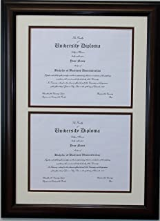 graduation university double 85x11 certificates or diploma openings frame and matted