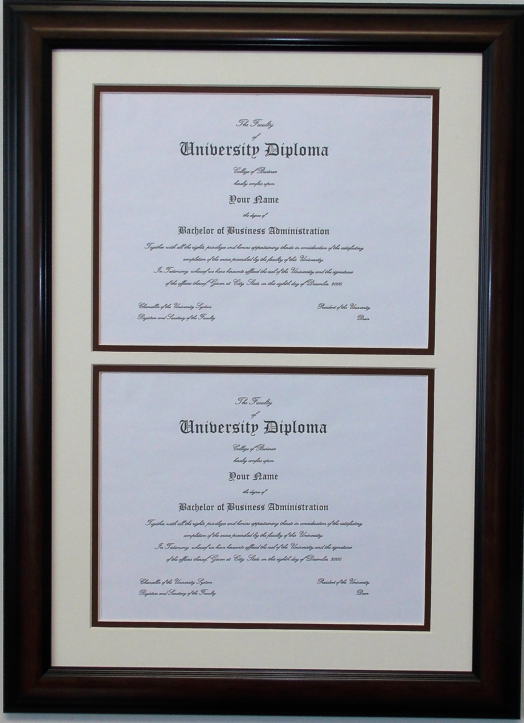 Double Diploma Document Certificate Openings Wood Picture Frame for Two 8.5x11 8-1/2x11 8.5 x 11