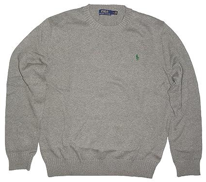 Polo Ralph Lauren Mens Knit Crewneck Pullover Sweater (Fawn Grey, Medium)