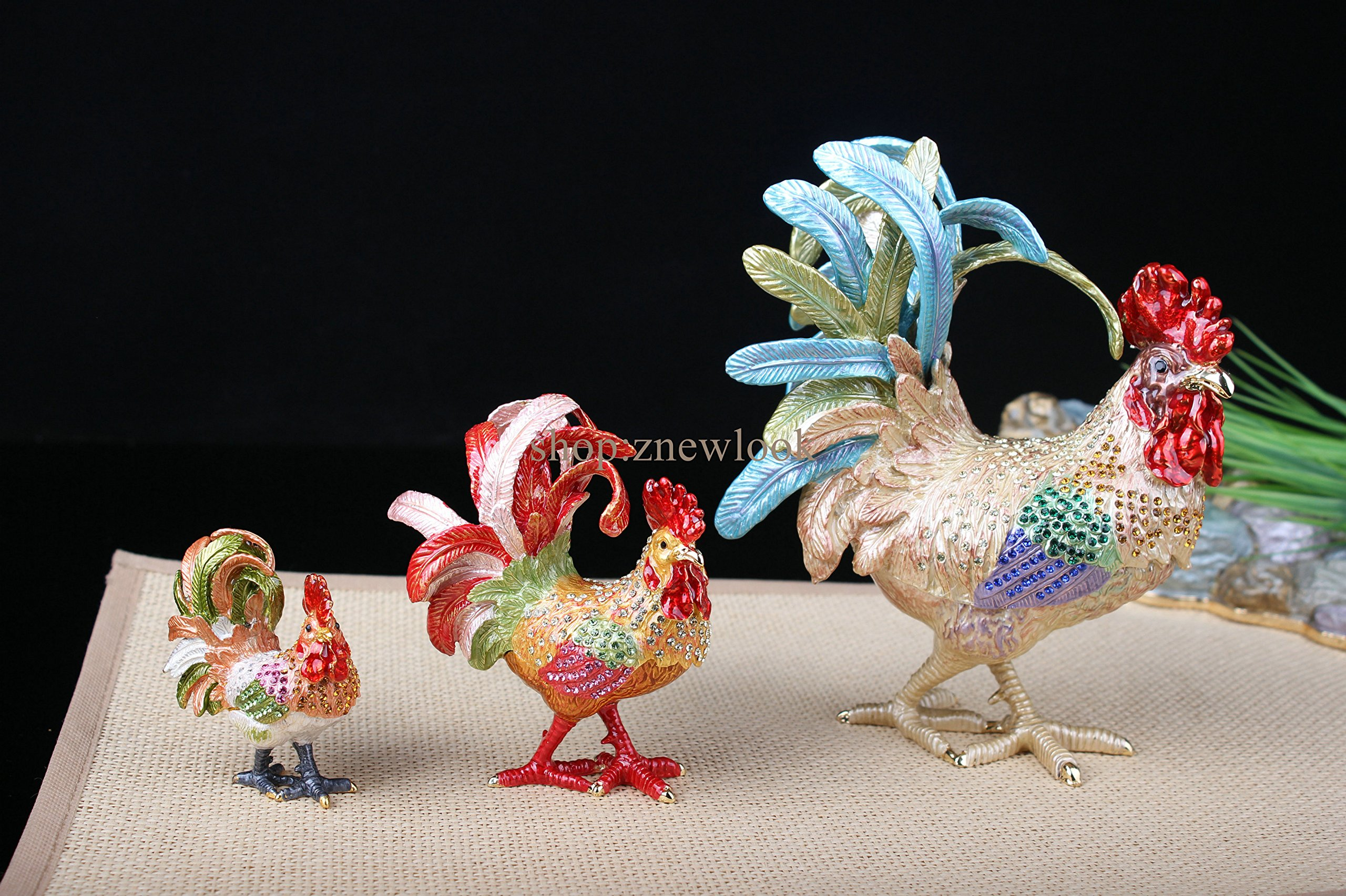 Bejeweled Rooster Chicken Statue Figurine Vintage Chicken / Rooster Trinket Jewelry Box (6x7.5CM) by znewlook (Image #5)