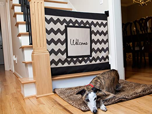 This Stylish Stair Barrier Helps To Keep Your Furry Friend Off The Stairs  And Boasts A Chevron Design With The Word U201cwelcomeu201d Displayed Across.