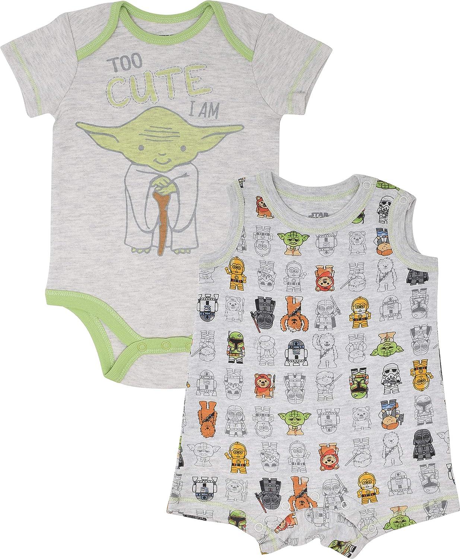 Star Wars Yoda Infant Baby Boys Bodysuit /& Sleeveless Romper Clothing Set