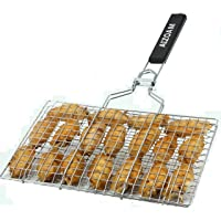 AIZOAM Portable Stainless Steel BBQ Barbecue Grilling Basket for Fish,Vegetables...