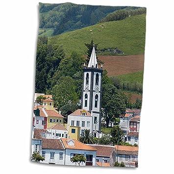 3dRose Horta Village, Faial Azores Islas, Portugal, North Atlantic Ocean Toalla, Blanco, 15 x 22 Pulgadas: Amazon.es: Hogar